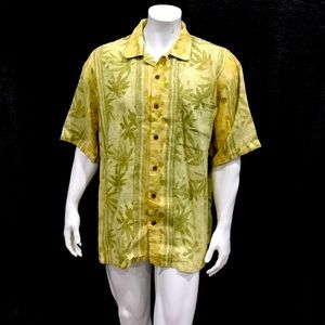 Tommy Bahama Mens Yellow Floral Shirt